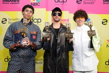 Bysael Martínez Ocasio, Bad Bunny and Bernie Martínez Ocasio winners of the Top Latin Song Award pose backstage for the 2021 Billboard Music Awards, broadcast on May 23, 2021 at Microsoft Theater in Los Angeles, California. (Photo by Rich Fury/Getty Images for dcp)
