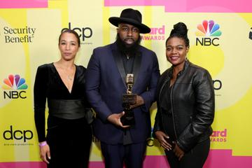 Trae tha Truth (C), winner of the Billboard Change Maker Award, poses backstage for the 2021 Billboard Music Awards, broadcast on May 23, 2021 at Microsoft Theater in Los Angeles, California. (Photo by Rich Fury/Getty Images for dcp)
