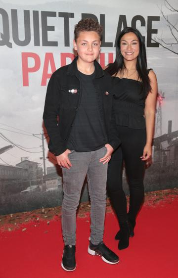 Gail Kaneswaran and her son Jackson pictured at the 'A Quiet Place Part II 'screening at the Odeon Cinema in Point Square ,Dublin. Picture  Brian McEvoy/ PIP