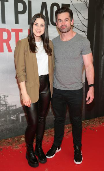 Jo Linehan and Mike Sheridan pictured at the 'A Quiet Place Part II 'screening at the Odeon Cinema in Point Square ,Dublin. Picture  Brian McEvoy/ PIP