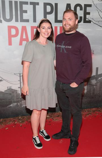 Erica Foley and Gary Fleming pictured at the 'A Quiet Place Part II 'screening at the Odeon Cinema in Point Square ,Dublin. Picture  Brian McEvoy/ PIP