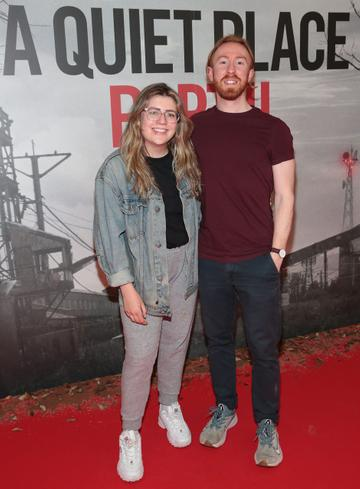 Fionnuala Jones and Cian Roche pictured at the 'A Quiet Place Part II 'screening at the Odeon Cinema in Point Square ,Dublin. Picture  Brian McEvoy/ PIP