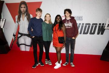 Actress Cathy Belton with Ben Taylor, Ana Michael and Oisin Taylor pictured at the Irish Special Preview Screening Marvel Studios Black Widow. Picture Andres Poveda