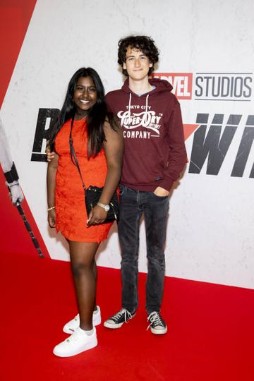 Ana Michael and Oisin Taylor pictured at the Irish Special Preview Screening Marvel Studios Black Widow. Picture Andres Poveda