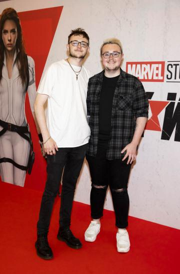 Adam Cassidy and Gareth Kiely pictured at the Irish Special Preview Screening Marvel Studios Black Widow. Picture Andres Poveda