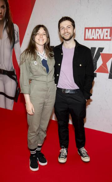 Megan McDonnell with Young Offenders actor Alex Murphy  pictured at the Irish Special Preview Screening Marvel Studios Black Widow. Picture Andres Poveda