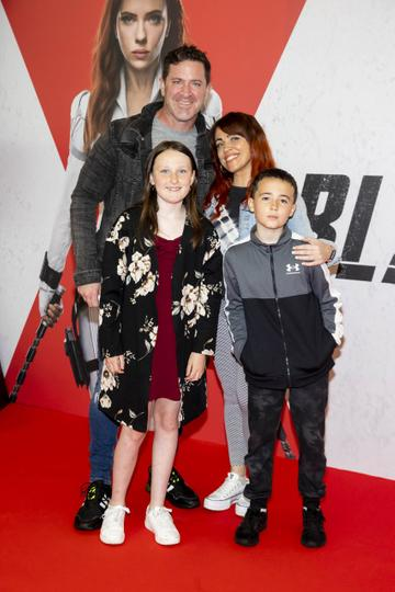 Maclean Burke with daughter Beau-Belle and girlfriend Cat Nolan with her son Jamie pictured at the Irish Special Preview Screening Marvel Studios Black Widow. Picture Andres Poveda