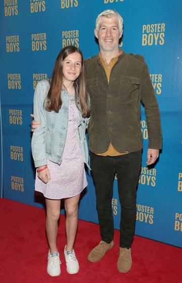 Actor Kieran O'Reilly and his daughter Elle pictured at the gala preview screening of Poster Boys at Omniplex , Rathmines,Dublin. Picture PIP