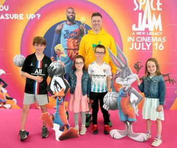 Radio Presenter Dave Moore and his children at the Irish Premiere screening of Space Jam : A New Legacy at the Odeon Cinema in Point Square,Dublin Picture PIP