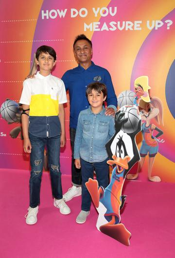 Skye Kumar,Vic Kumar and Sonny Kumar at the Irish Premiere screening of Space Jam : A New Legacy at the Odeon Cinema in Point Square,Dublin Picture PIP