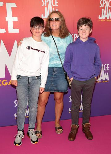 Dr Ciara Kelly with Blaise O Mahoney and Tom Belhouse at the Irish Premiere screening of Space Jam : A New Legacy at the Odeon Cinema in Point Square,Dublin Picture PIP