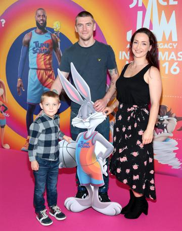 Emma Mahoney,Matthew Graham and Leo Graham at the Irish Premiere screening of Space Jam : A New Legacy at the Odeon Cinema in Point Square,Dublin Picture PIP
