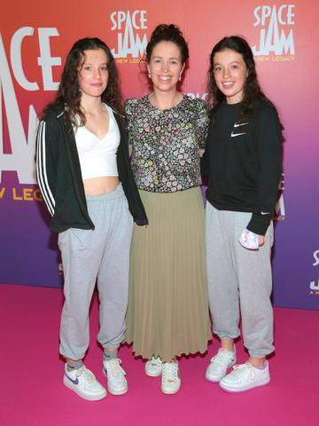 Amy Tyrrell,Yvonne Carey and Leah Trrell at the Irish Premiere screening of Space Jam : A New Legacy at the Odeon Cinema in Point Square,Dublin Picture PIP