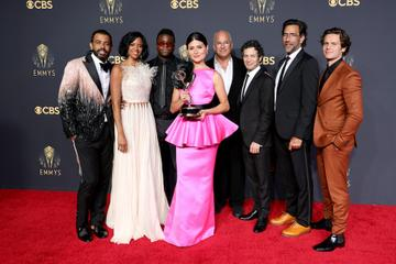 LOS ANGELES, CALIFORNIA - SEPTEMBER 19: 'Hamilton' cast and crew members, winners of the Outstanding Variety Special (Pre-Recorded) award, pose in the press room during the 73rd Primetime Emmy Awards at L.A. LIVE on September 19, 2021 in Los Angeles, California. (Photo by Rich Fury/Getty Images)