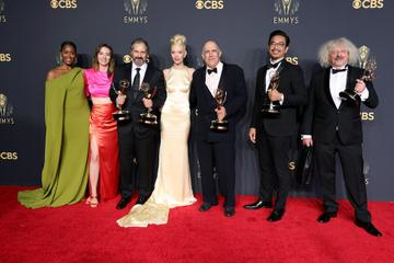LOS ANGELES, CALIFORNIA - SEPTEMBER 19: (L-R) Moses Ingram, Marielle Heller, Scott Frank, Anya Taylor-Joy, William Horberg, Mick Aniceto, and Marcus Loges, winners of the Outstanding Limited Or Anthology Series award for 'The Queen's Gambit,' pose in the press room during the 73rd Primetime Emmy Awards at L.A. LIVE on September 19, 2021 in Los Angeles, California. (Photo by Rich Fury/Getty Images)