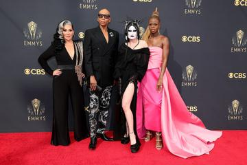 LOS ANGELES, CALIFORNIA - SEPTEMBER 19: (L-R) Michelle Visage, RuPaul, Gottmik, and Symone attend the 73rd Primetime Emmy Awards at L.A. LIVE on September 19, 2021 in Los Angeles, California. (Photo by Rich Fury/Getty Images)